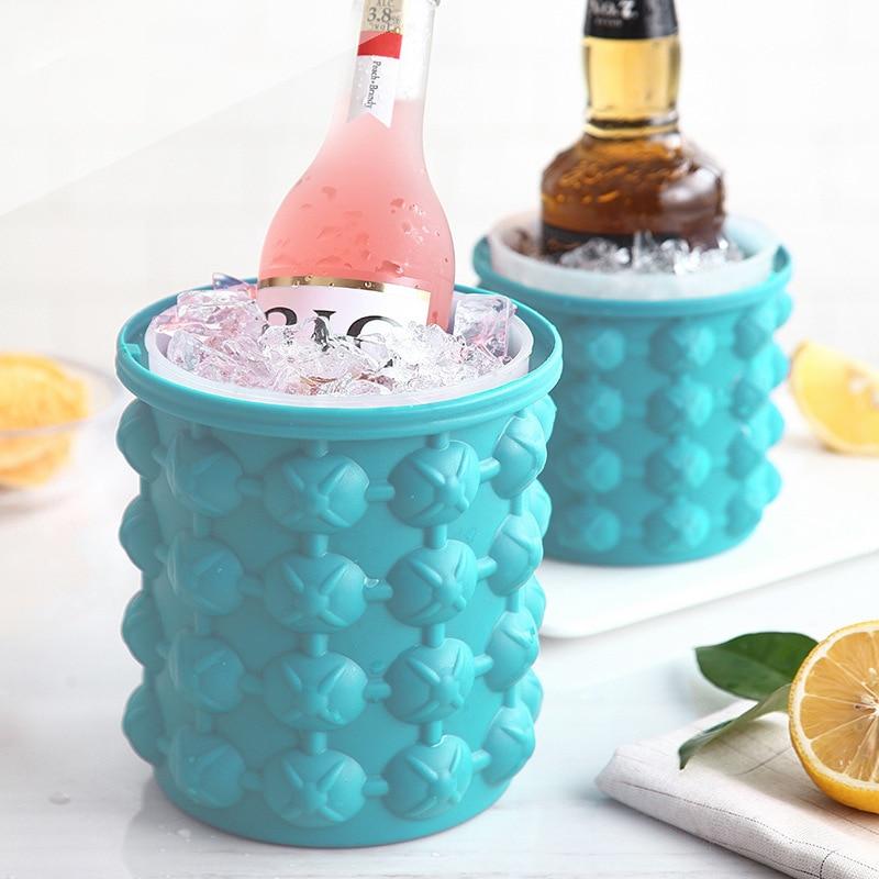 600 мл/1100 мл Силиконовое ведро для льда, быстрое изготовление кубиков льда, формы для замораживания виски, контейнер для вина, охладитель пива...