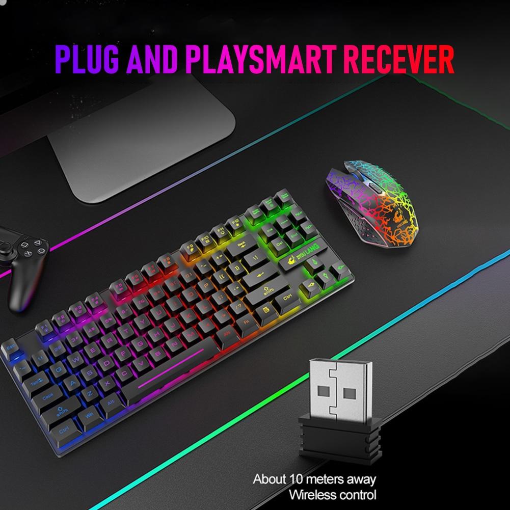 6 أزرار 2.4GHz لوحة مفاتيح الألعاب اللاسلكية قابلة للشحن ألعاب لوحة المفاتيح ماوس المجموعات لمكتب الكمبيوتر المحمول