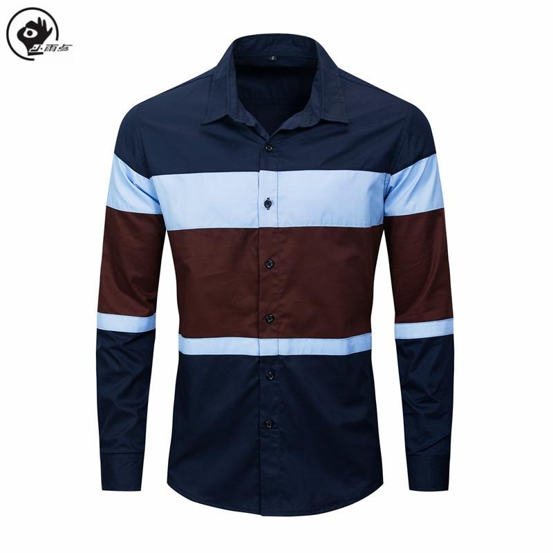 Little Raindrop Men Shirt 2020 Spring New Colorblock Patchwork Shirt Casual Male Cotton Long Sleeve XXL Mens Dress Shirts Brand