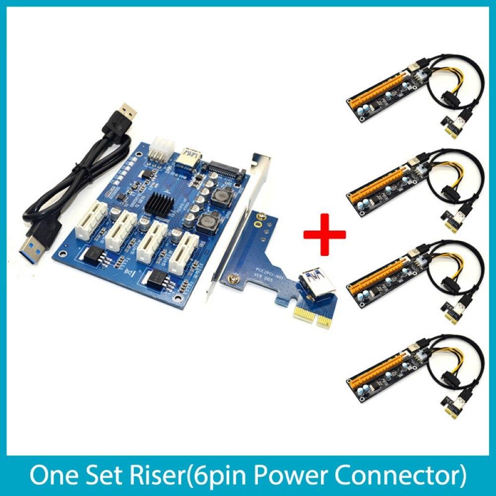 مجموعة بطاقة جرافيكس 1 فتحة PCI-E Express 1X إلى 4 فتحة 16X Mini ITX 1X إلى 4 PCI-E محول عدة بطاقة الناهض للتعدين BTC التعدين