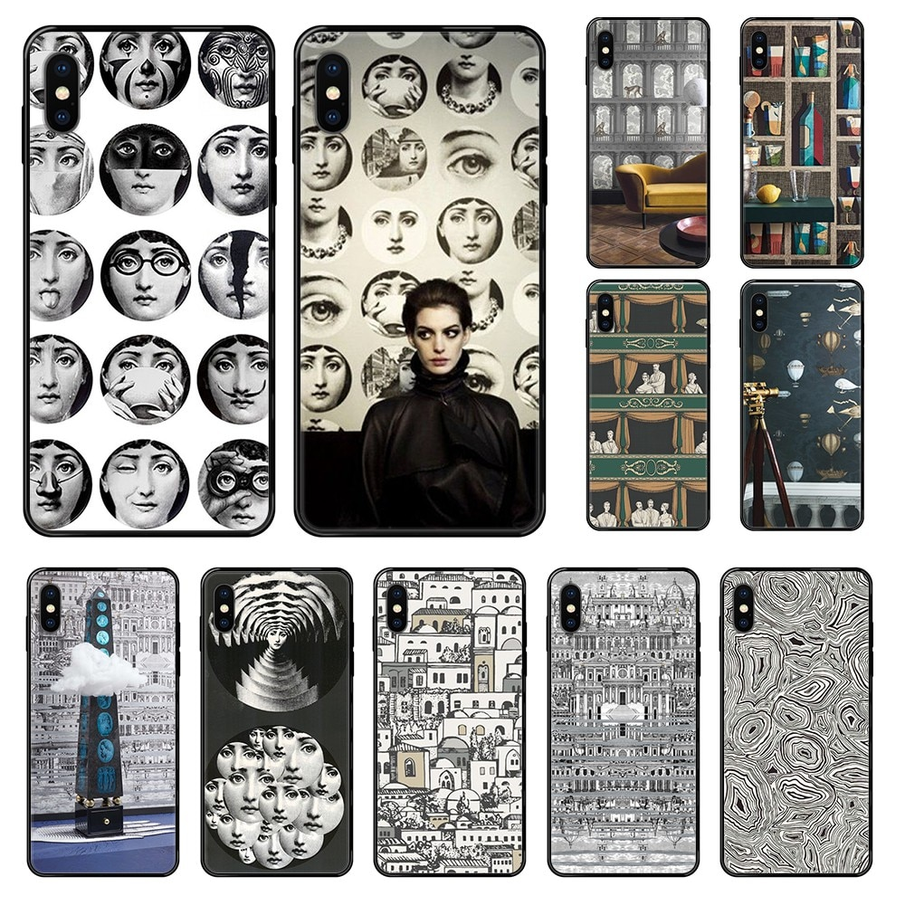 Artística de Fornasetti arte muy atrás estuche negro caja del teléfono para iphone 4 4s 5 5S SE 5C 6S 6 7 8 plus X XS X XR 11 PRO MAX 2020