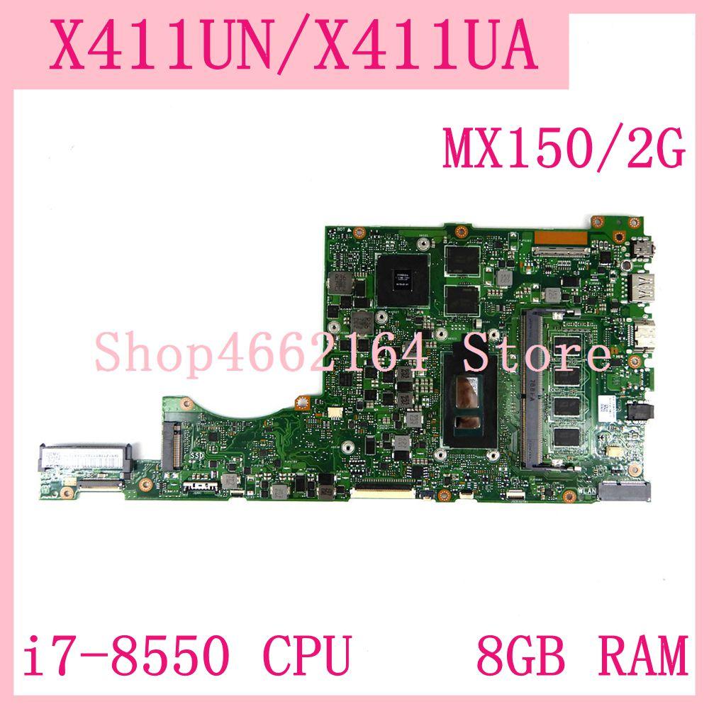 Placa base X411UN 8GB RAM i7-8550 CPU MX150/2G para portátil Asus X411 X411U X411UN X411UA placa base X411UN probada