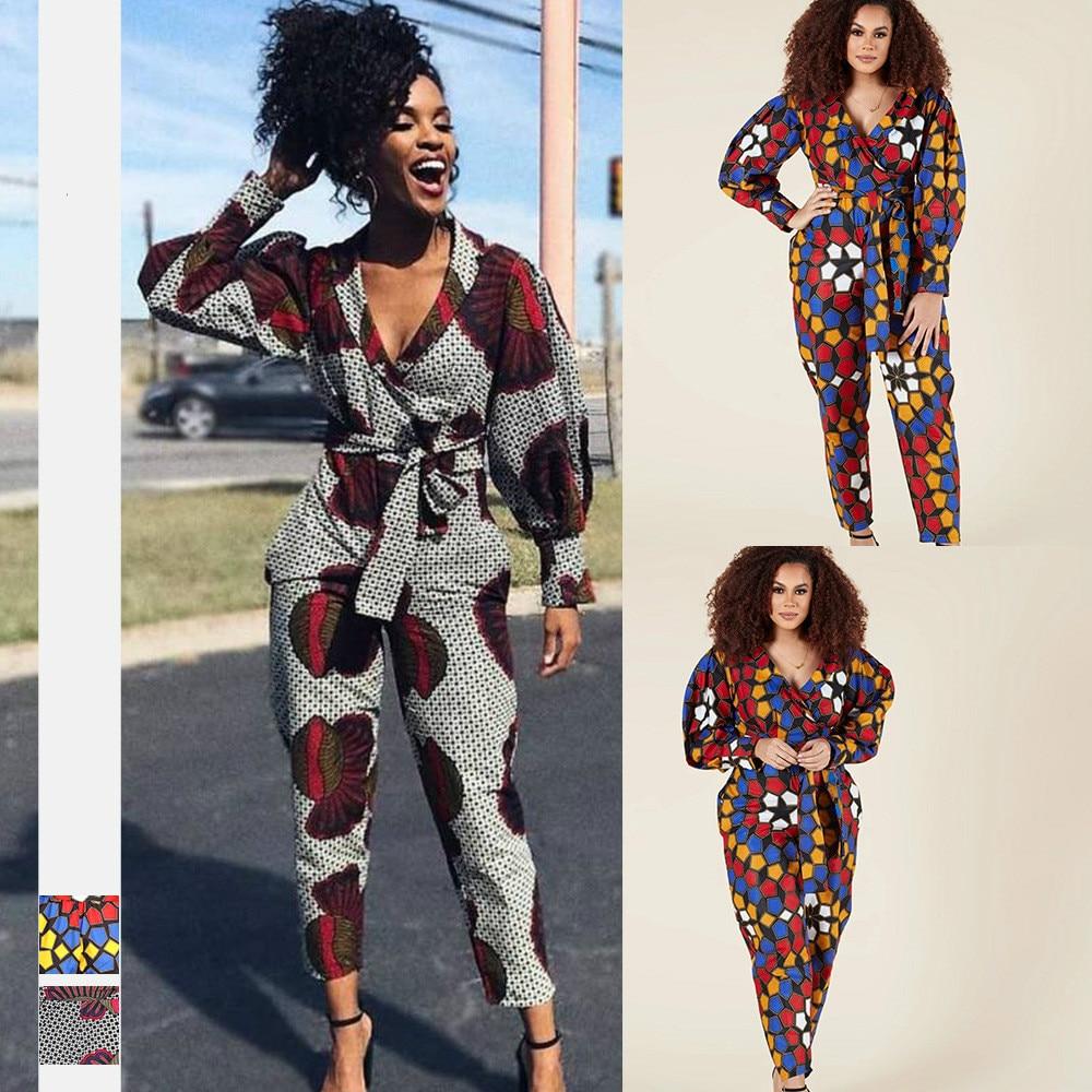 Africaine 2021 News Shoulder Off Dashiki African Print Robe V Neck Jumpsuit Plus Wide Leg African Dresses Ladies Clothes