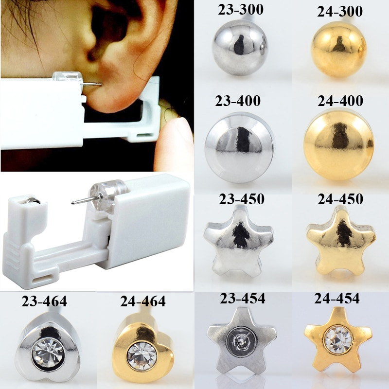 24 قطعة/صندوق الموضة لا ألم الأذن ثقب عدة المتاح آمنة العقيمة الأذن مسمار ثقب بندقية الثقب أداة عدة القرط مجوهرات