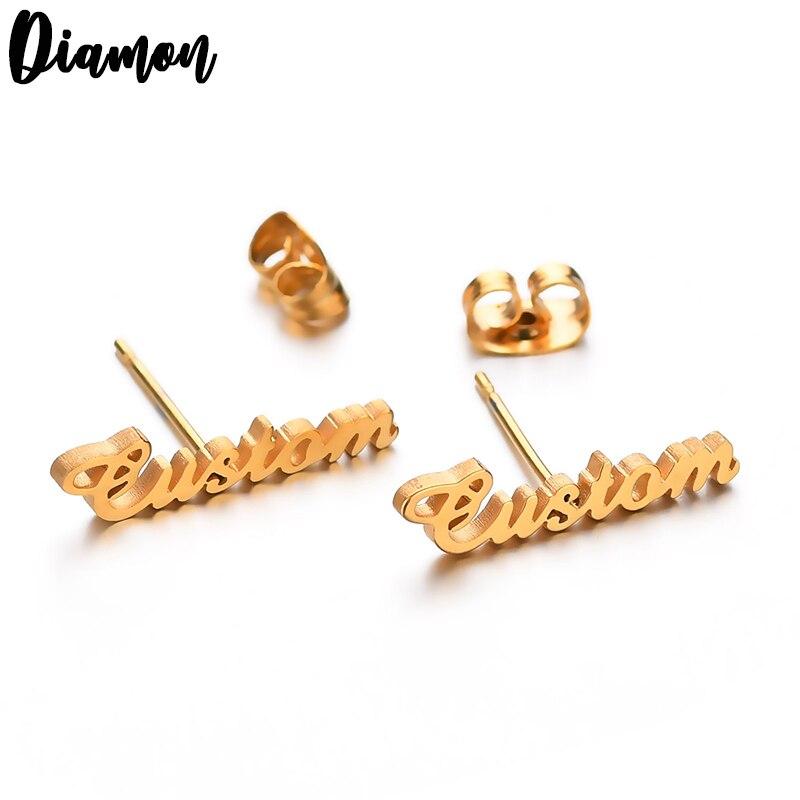 Pendientes de tuerca con letras de acero inoxidable con nombre personalizado de Diamon para mujer, pendientes de Piercing con nombre personalizado