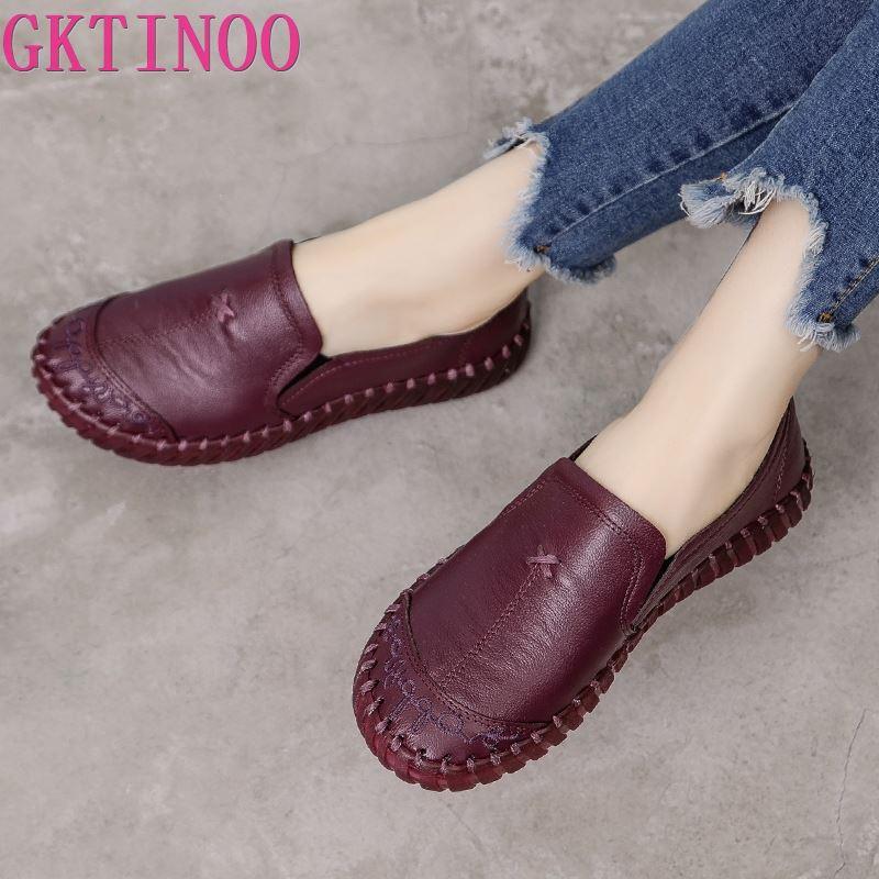 GKTINOO 2020 Fashion Women Shoes Genuine Leather Loafers Women Casual Shoes Soft Comfortable Shoes Women Flats