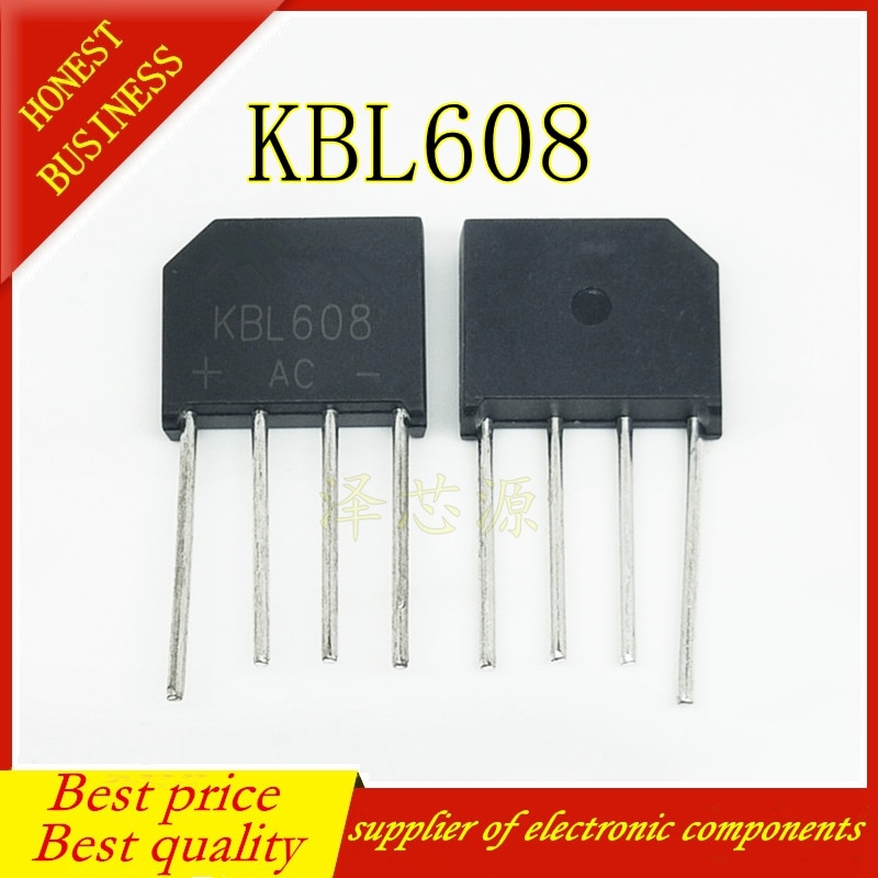 5 unids/lote KBL608 KBL-608 6A 800V Puente rectificador de diodo