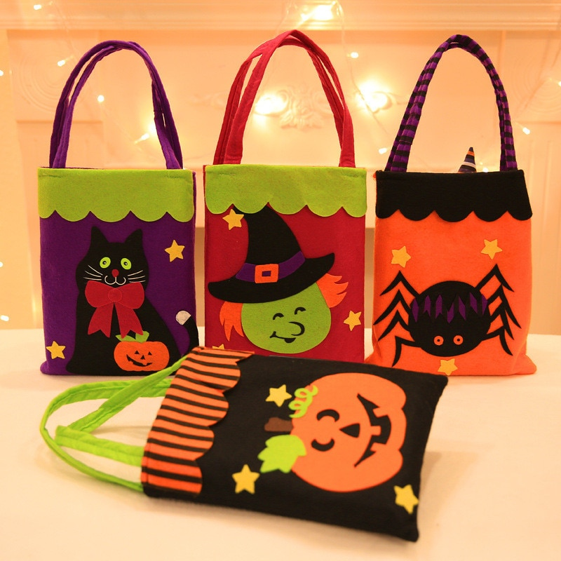 Bolsa de regalo para caramelos de Halloween, bolsas rectangulares para recibir, decoración de fiesta de Halloween para el hogar