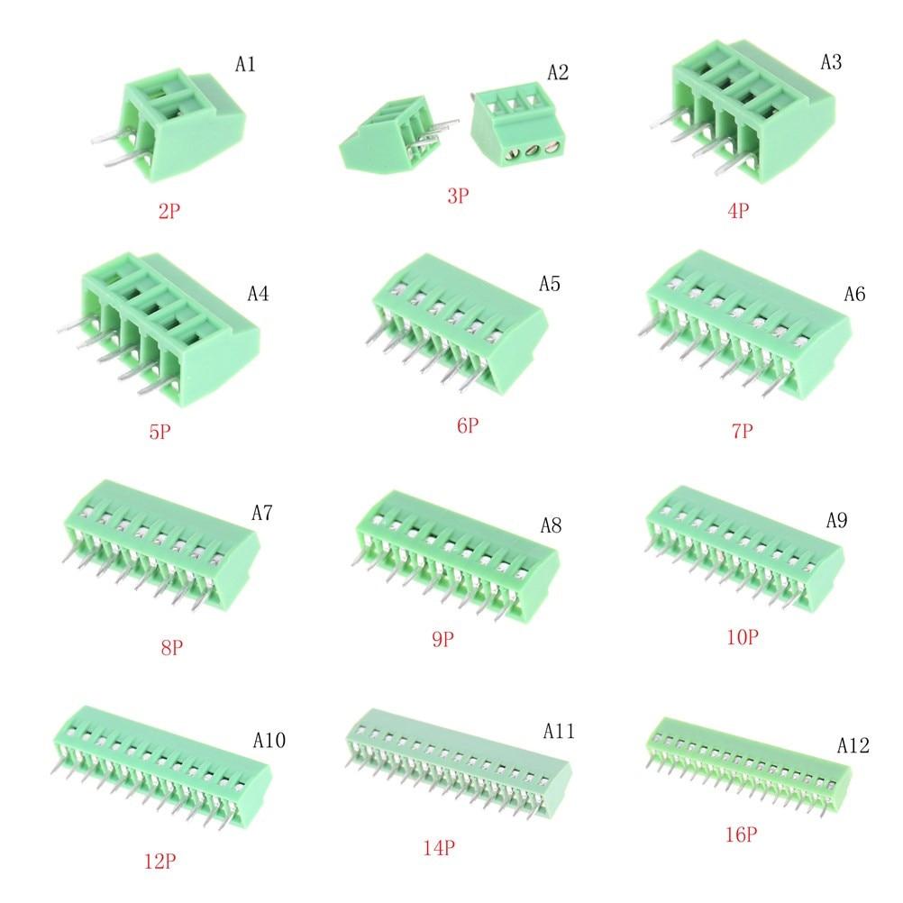 Bloques de terminales de resorte PCB de paso de 5,0mm conector KF128 8P-16P KF128 Pin recto cobre PCB terminales de tornillo verde