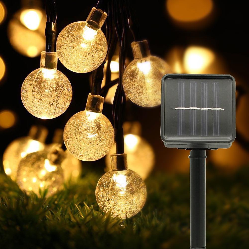 5 м 6 м Солнечная лампа хрустальный шар Светодиодные Струнные огни вспышка Водонепроницаемая сказочная гирлянда для наружного сада рождественское свадебное украшение