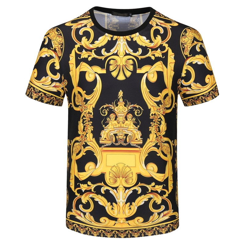 2021ss جديد تي شيرت الرجال قصيرة الأكمام الباروك قصر نمط قميص مطبوع برقبة مستديرة عالية الشارع الأسود قطنية عالية الجودة موضة الصيف