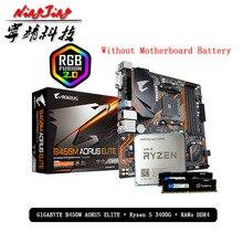 AMD Ryzen 5 R5 3400G CPU + GA B450M AORUS ELITE carte mère + Pumeitou DDR4 8G 16G 2666MHz RAMs costume Socket AM4 sans refroidisseur