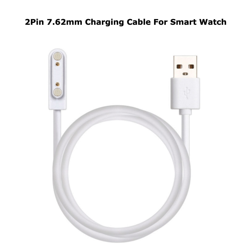 White Colour Universal 2pin 7.62mm Magnetic Absorption Charging Cable USB Power Charger Cables For Children's Smart Watch недорого