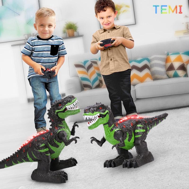 التحكم عن بعد الديناصورات روبوت كهربائي ضوء الصوت لعبة الحفر الجوراسي الحيوانات تي ريكس ألعاب تعليمية للأطفال الأولاد