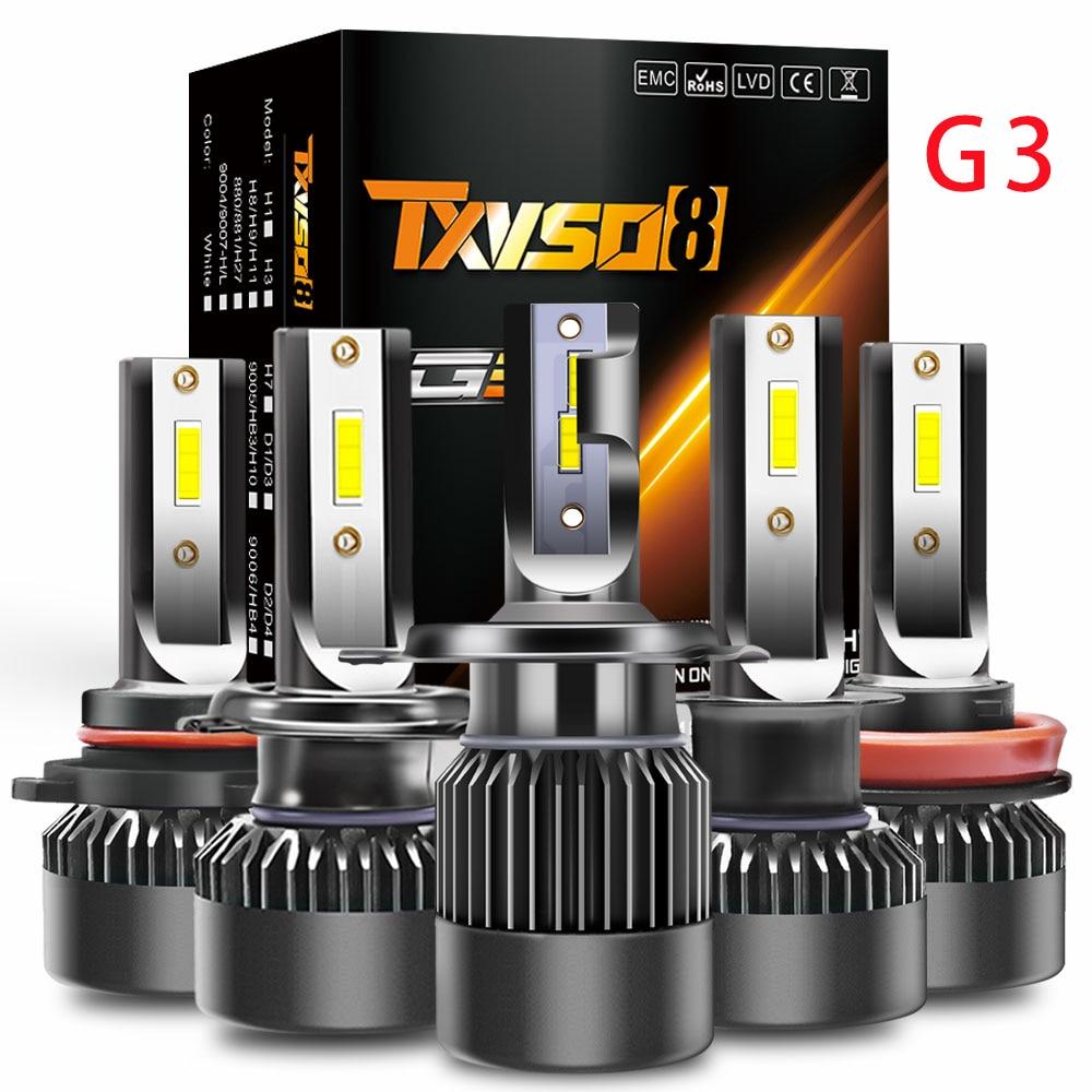 100W 10000LM Kit de faros delanteros LED 2 uds 55W bombillas H1 H7 H8 H9 H11 9005 HB3 9006 HB4 9012 Socket 6000K luz blanca de la luz de CSP COB LED Chips