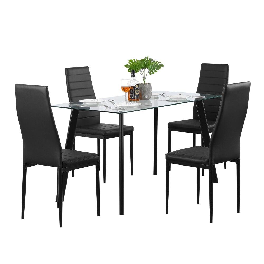【Nous entrepoir】 chaud 5 pièces ensemble de Table à manger 4 chaises verre métal cuisine chambre meubles noir