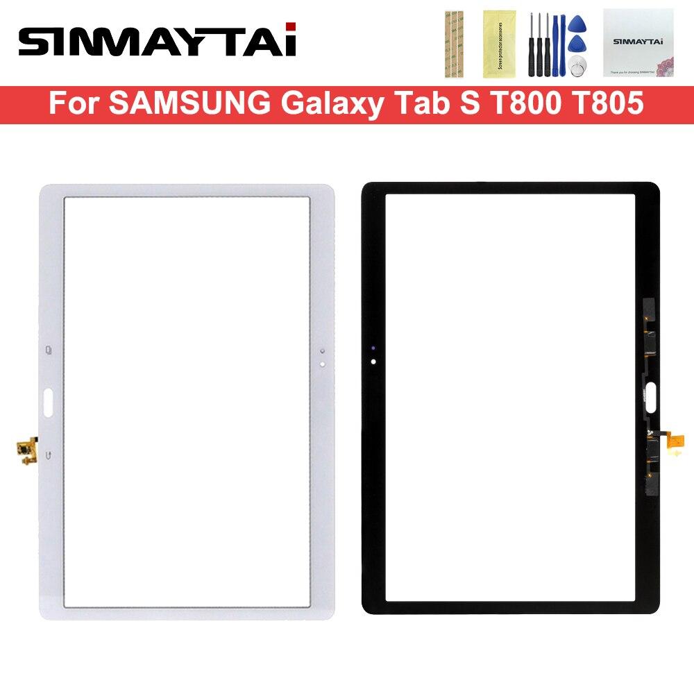 10,5 pulgadas frente Panel de vidrio digitalizador para Samsung Galaxy Tab S T800 T805 SM-T800 SM-T805 pantalla táctil + adhesivo + herramientas