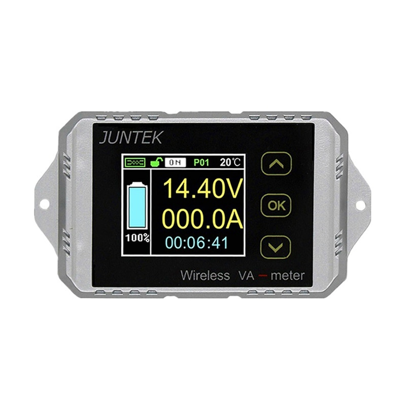 JUNTEK VAT1300 100 فولت 300A اللاسلكية الجهد والتيار متر بطارية السيارة مراقبة البطارية Coulomb عداد VA متر