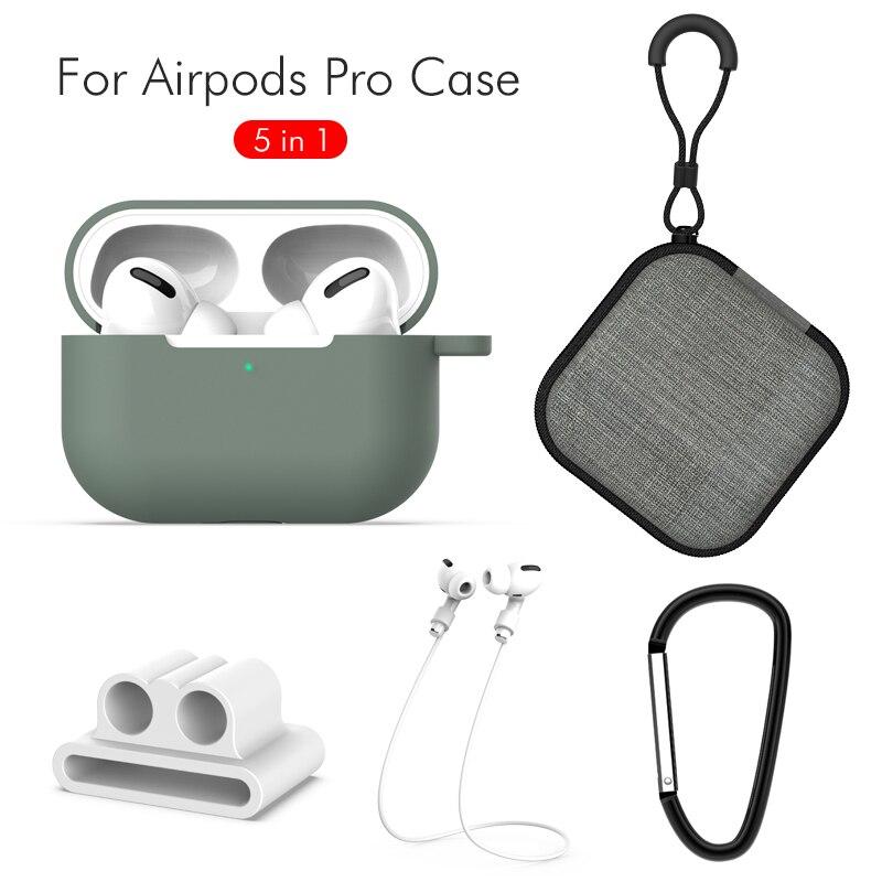 5 En 1 accesorios para auriculares para cápsulas de aire Pro auriculares inalámbricos para Airpods funda bolsa con ganchos Anti-Pérdida de cuerda soporte de correa de reloj