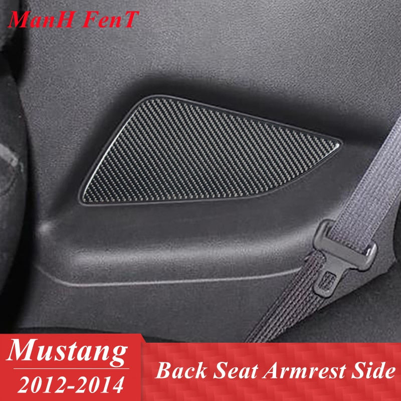 For Ford Mustang Black Rear Seat Aimrest Side Panel Real Carbon Fiber Interior Decoration 3D Sticker 2012 2013 2014