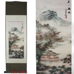 Summer Mountain Landscape Pattern Silk Painting Decoration Scroll Painting Chinese Characteristics