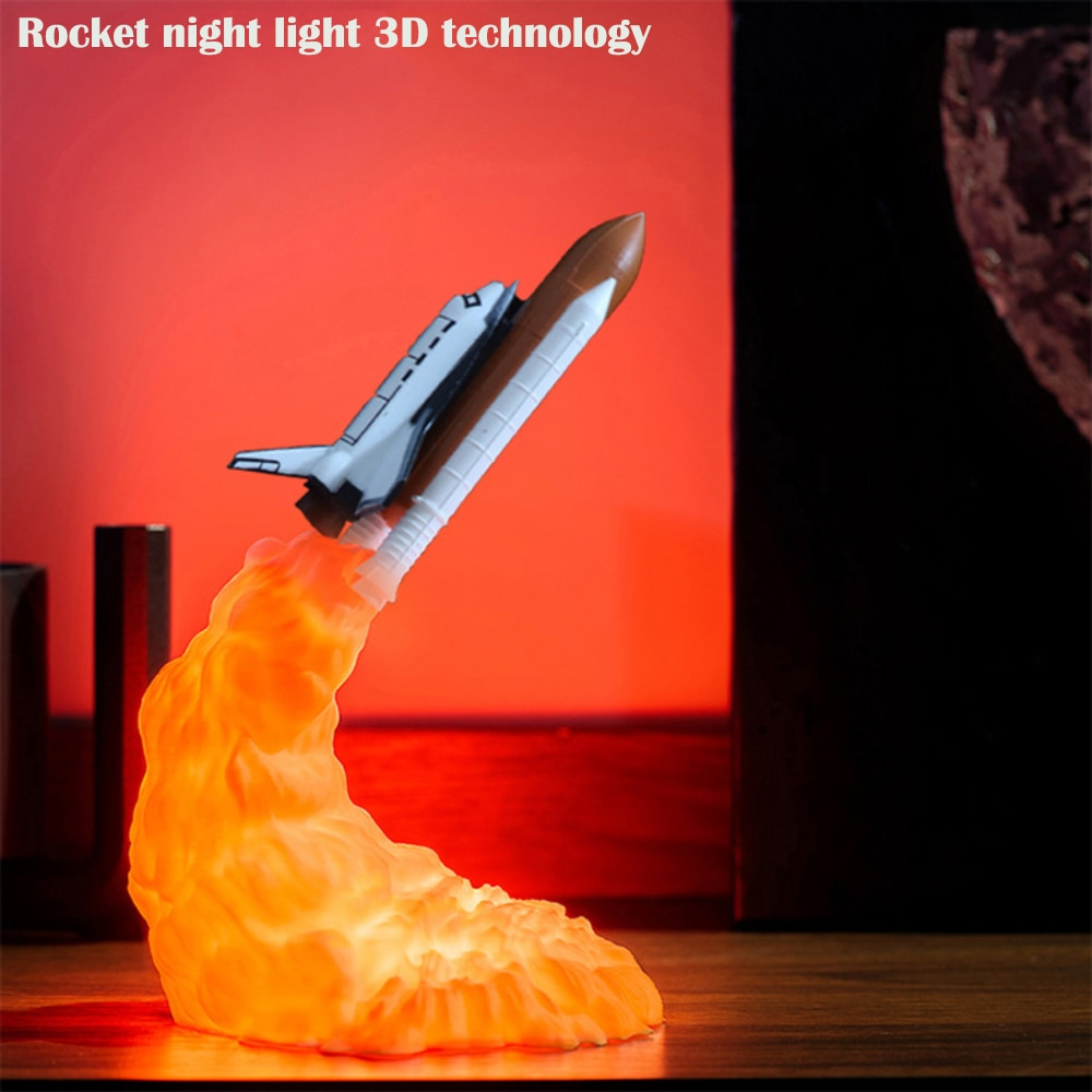 Hot sale Popular smart home Night light USB recharge new special table lamp 3D printing rocket lamp shuttle lamp light gift enlarge