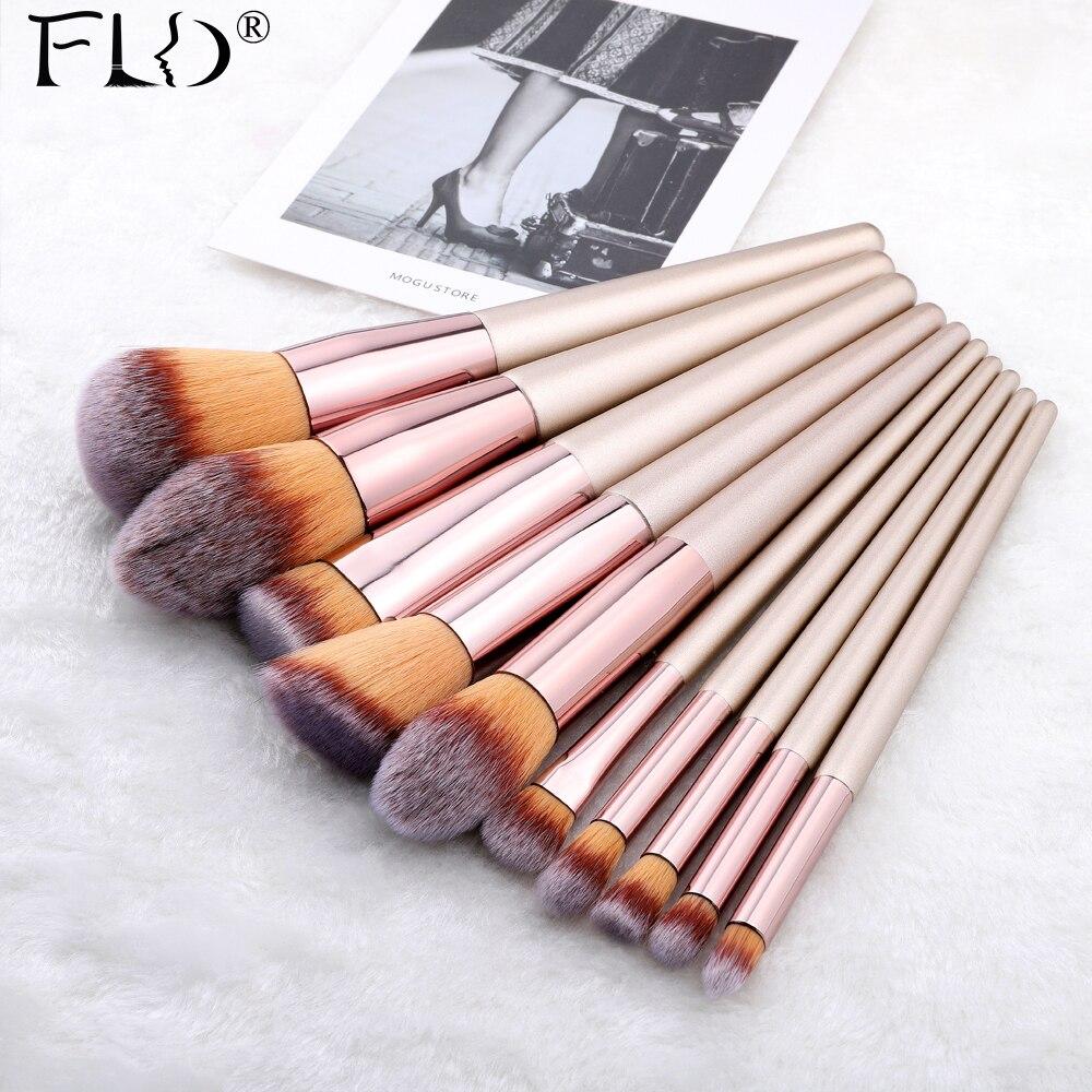 FLD 9/10 шт кисти для макияжа кабука, набор для нанесения пудры, румян, теней для век, консилер, Кисть для макияжа, косметические инструменты