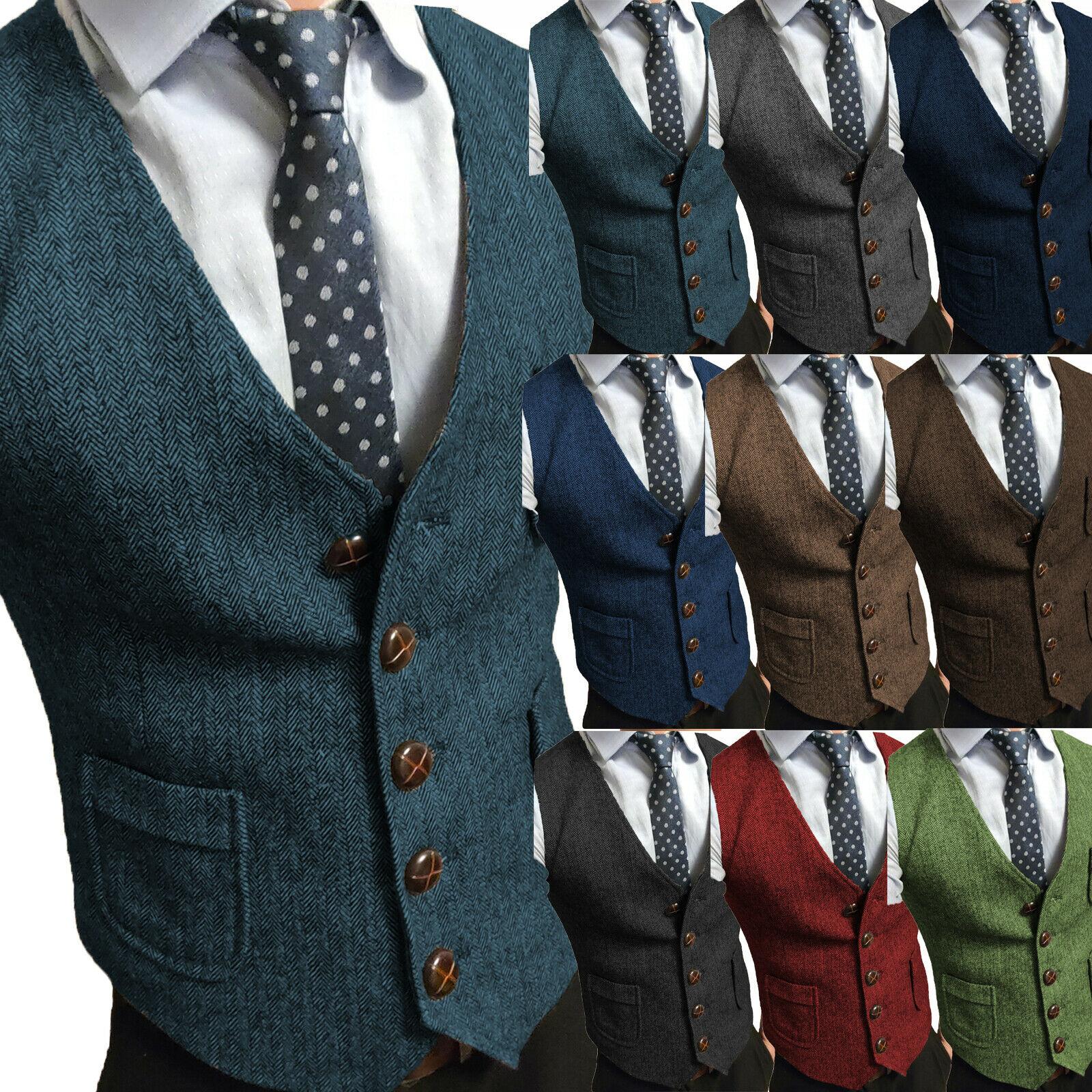 Мужской костюм жилет в елочку жилет для шафера Тонкий деловой жилет без рукавов в стиле стимпанк шерстяной теплый жилет