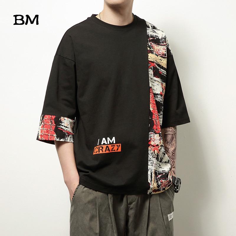 Мода 2020, хип-хоп, строчка, короткий рукав, китайский стиль, короткий рукав, летняя, негабаритная футболка для мужчин 5XL, Harajuku, топы для мужчин