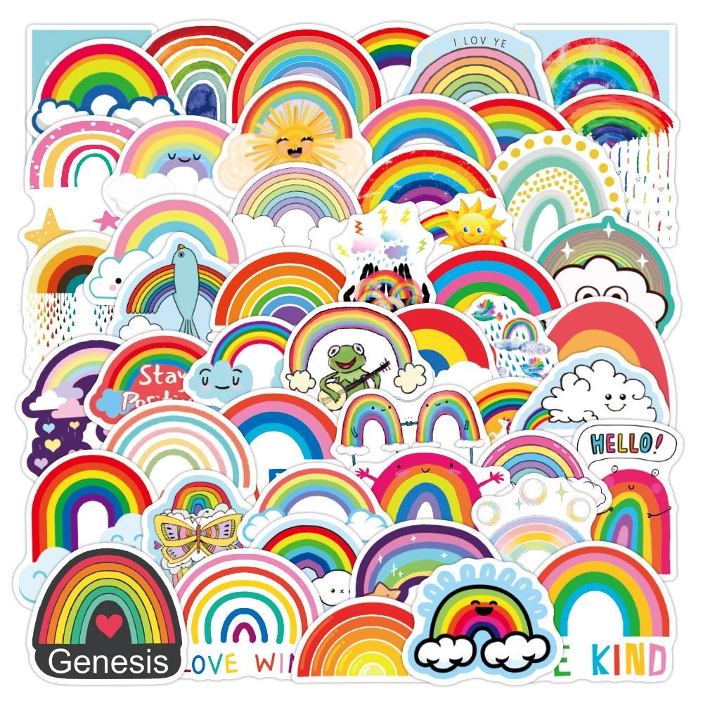10/30/50 шт., разноцветные радужные наклейки для скейтборда, гитары, чемодана, холодильника, мотоцикла, граффити