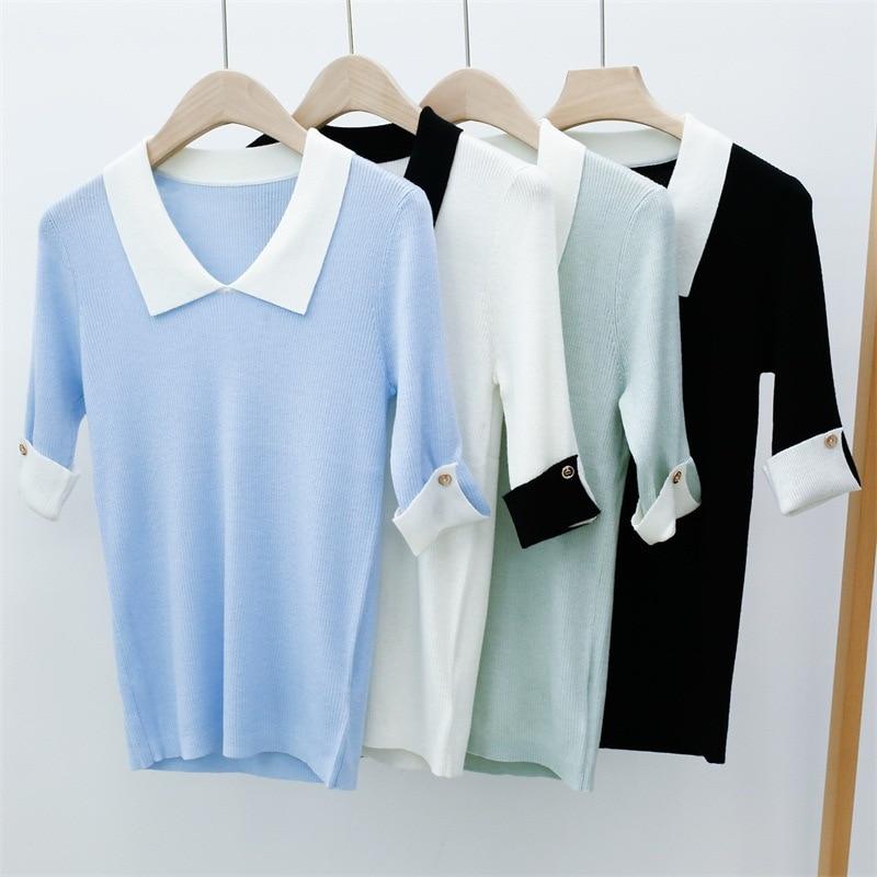 100% de lana de marca de moda para mujeres de gama alta de lujo de verano solapa ajustada de punto de manga corta de lana Polo camisa