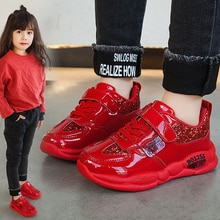 Sequins New Kids Leather Shoes Baby Girls Sport Sneakers Children Shoes Boys Fashion Casual Shoes So