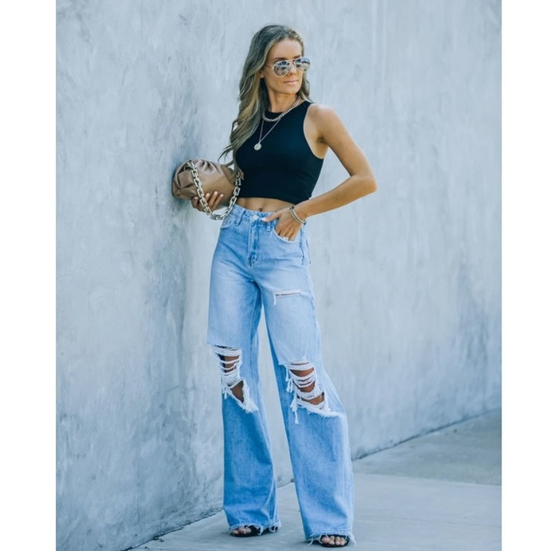 straight leg mid rise faded jeans Donsignet Fashion Women's Jeans Casual Hot-selling High Street Fashion Mid-rise Solid Color Straight-leg Hole Water-based Jeans