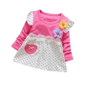 Autumn Children Dress Polka Dot Flower Kids Dresses for Girls Cotton Long Sleeve Girl Dress Cute Girls Clothes