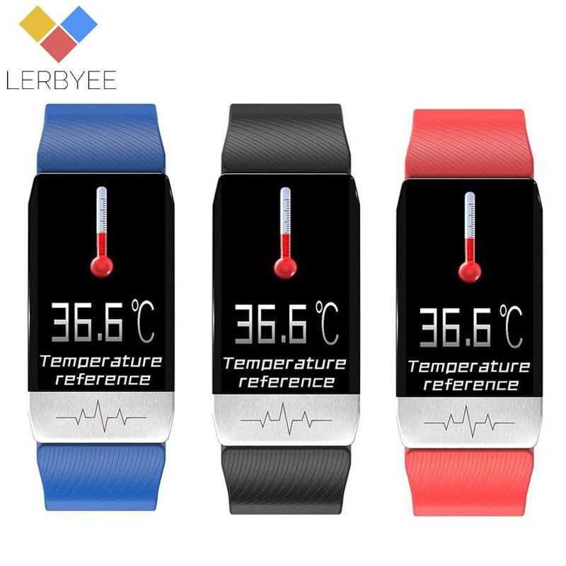 Lerbyee T1 rastreador de Fitness cuerpo temperatura de Color de pantalla pulsera inteligente impermeable de monitor, seguidor de actividad deporte