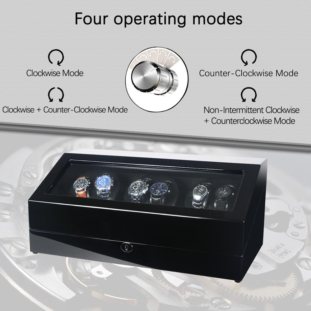 Automatic 6+7 Watch Winder Box PE Leather Watch Winding Winder Storage Watch Box Collection Display Quiet Motor With LED Light enlarge