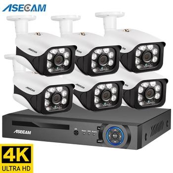 4K Ultra HD 8MP POE NVR Kit Street CCTV Record Security System IP Camera Outdoor Home Video Surveillance Camera Set