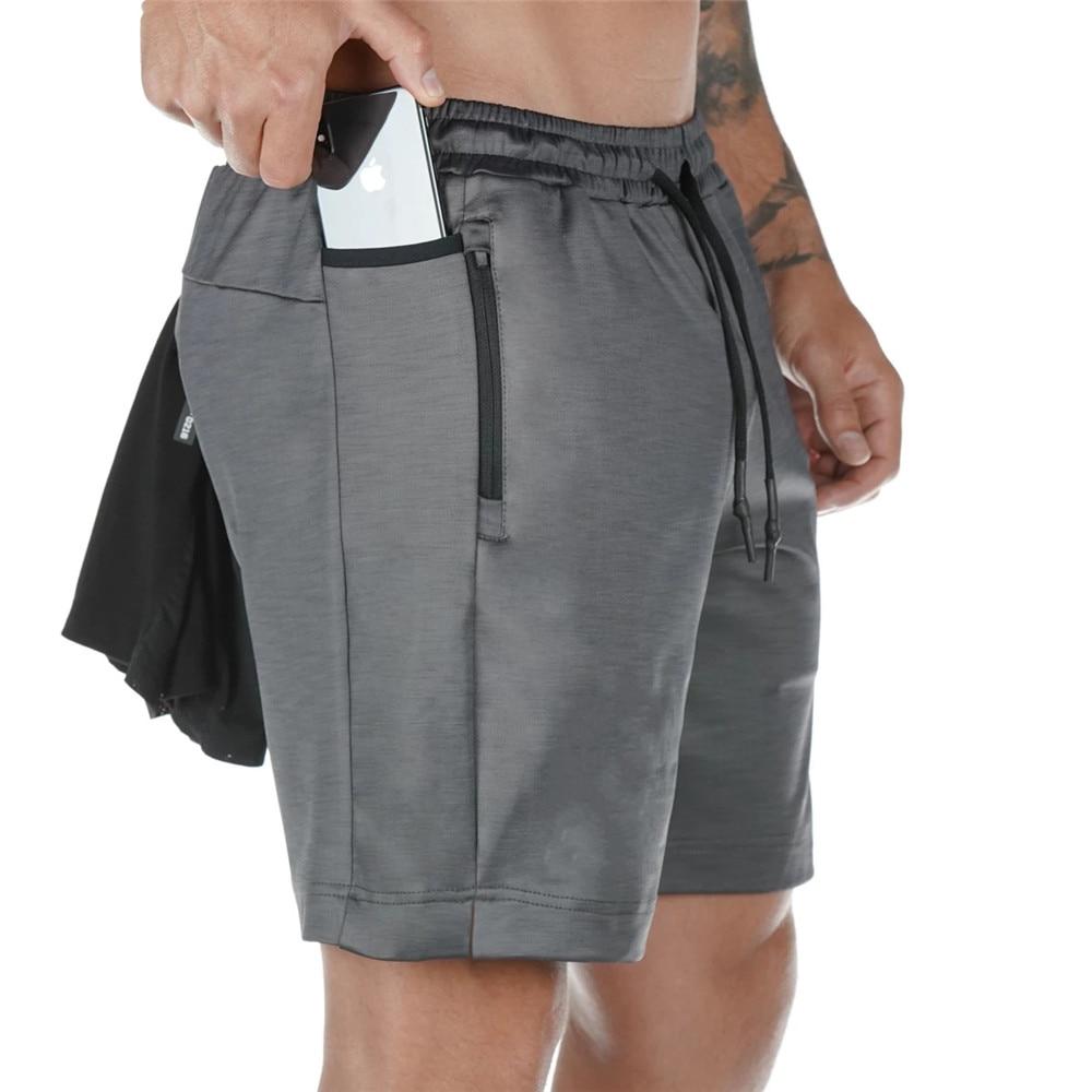 Быстросохнущие шорты для бега мужские спортивные шорты Бермуды для фитнеса летние мужские пляжные тренировочные брюки с несколькими карма...