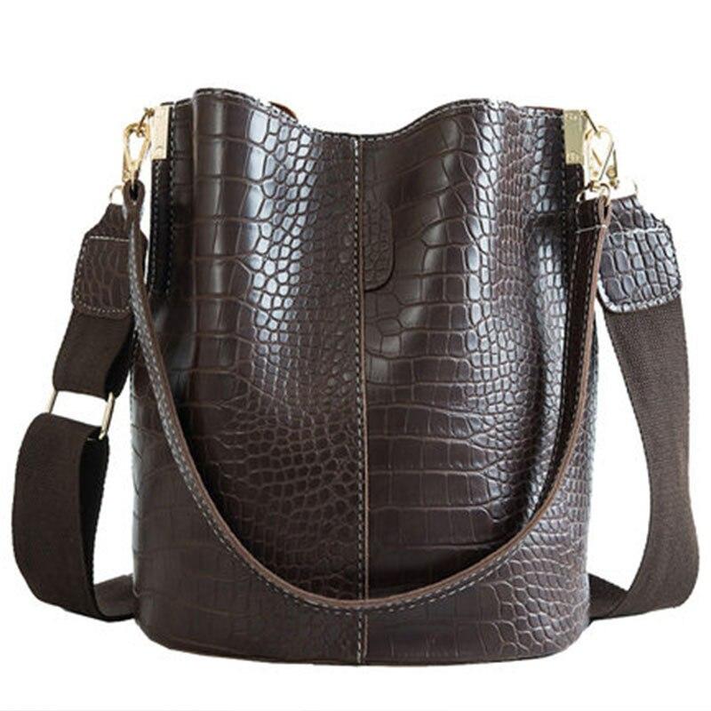 Ansloth Crocodile Crossbody Bag For Women Shoulder Bag Brand Designer Women Bags Luxury PU Leather Bag Bucket Bag Handbag