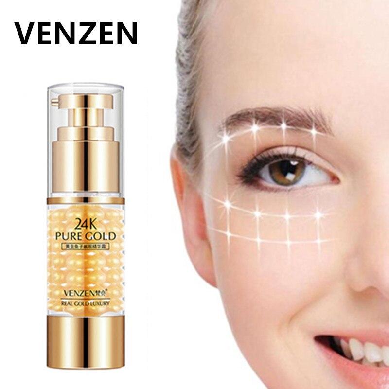 VENZEN 24K Pure Gold Eye Cream Serum Remover Dark Circles And Eye Bags Caviar Eye Cream Anti Wrinkle Anti Aging Ageless Serum