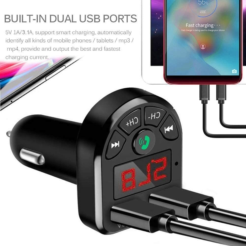 Прямая поставка, новый черный автомобильный комплект DC Bluetooth 5,0, двойной USB дисплей 1,1 дюйма, двойной USB(1A/3.1A), поддерживает TF/USB вход