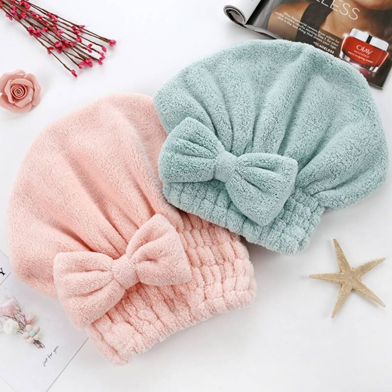 Nuevo lindo niños niñas cabello de secado rápido envuelto sombrero de baño sólido de lana de Coral Super absorbente cabeza gorro envolvente turbante de secado de cabello toela