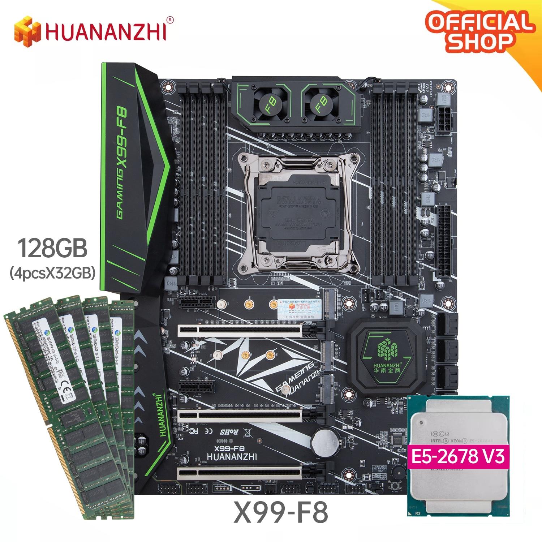 HUANANZHI X99 F8 X99 اللوحة الأم مع إنتل سيون E5 2678 V3 مع 4*32G DDR4 RECC الذاكرة كومبو مجموعة SATA 3.0 USB 3.0