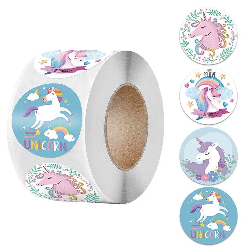 Pegatinas de unicornio de dibujos animados para niños, etiqueta de recompensa de...