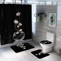 Non Slip Toilet Seat Cover Bath Mat Polyester Waterproof Shower Curtain Set Bathroom Carpet Home Decor Bathroom Foot Mat