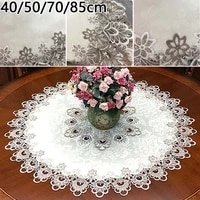 1pc round tablecloth lace floral table cover dustproof home festival table cloth placemat tea towel kitchen wedding home decor