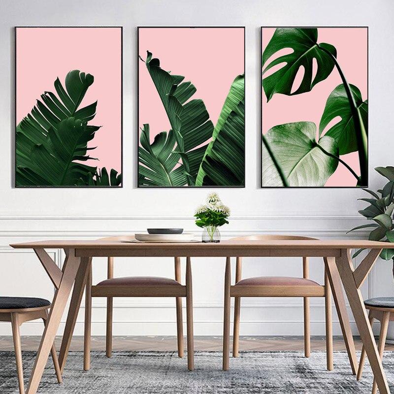 Nórdico tropical folhas de palmeira arte da parede abacaxi quadros quadros da lona rosa e verde para sala estar decoração