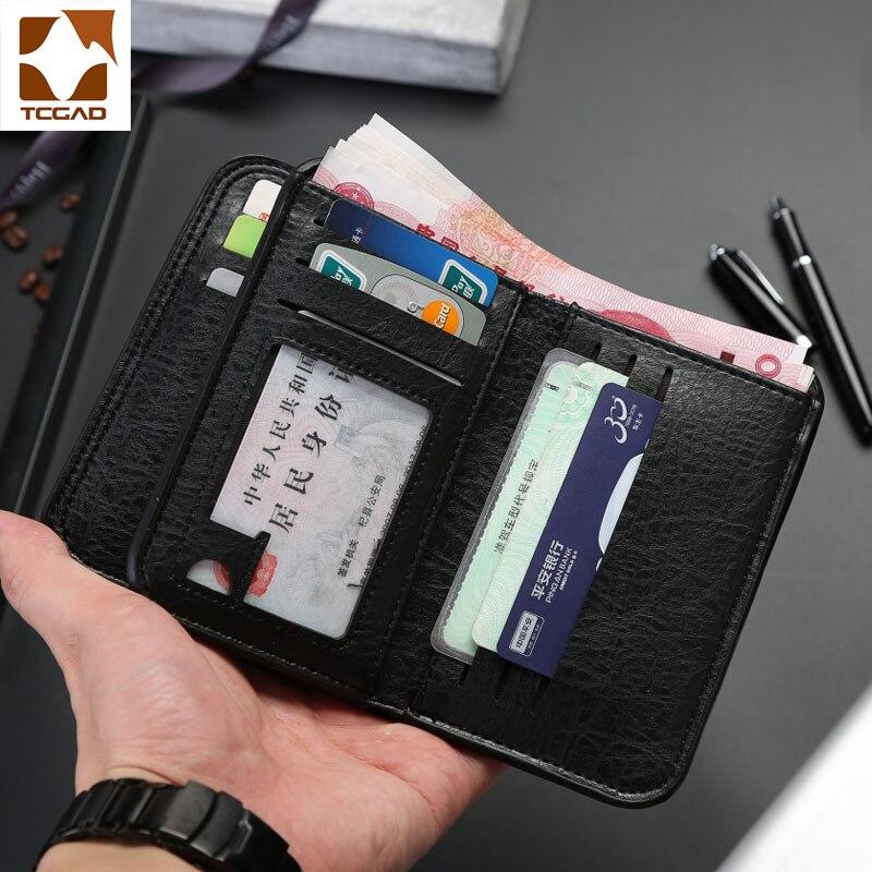 Carteira de couro carteira masculina carteiras retro masculino carteira de couro genuíno bolso masculino bolsa compartimento fino portafoglio uomo