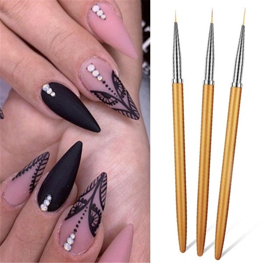 3 unids/set pinceles para pintar uñas a rayas pincel de dibujo de flores bolígrafo Color negro gancho línea plumas DIY manicura uñas-arte de plumas