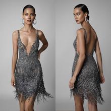 2020 perles de broderie Sexy robes de bal courtes col en V profond dos nu formel Cocktail robe de soirée gland luxe robes de soirée